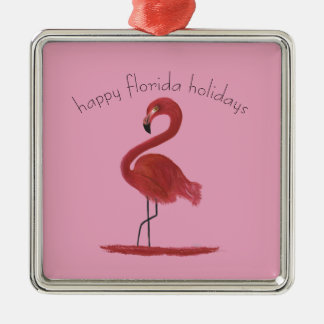 Whimsical and Flirty Pink Florida Flamingo Christmas Ornament