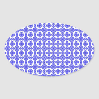 Whimsical and Romantic Blue Hearts Custom Design Oval Sticker