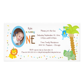 Whimsical Animals First Birthday Photo Card Template