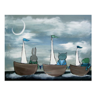 Whimsical Animals in Tag-A-Long Boats Postcard