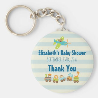 Whimsical Animals Toy Train Baby Shower Thanks Basic Round Button Key Ring