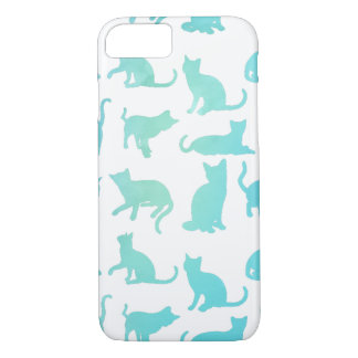 Whimsical Aqua Cats iPhone 7 Case