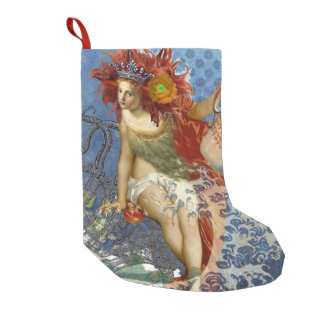 Whimsical Aquarius Mermaid Gothic Retro Collage Small Christmas Stocking