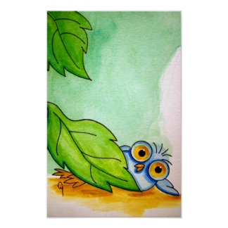 "WHIMSICAL BABY BLUE OWL 11"" X 17"" Poster"