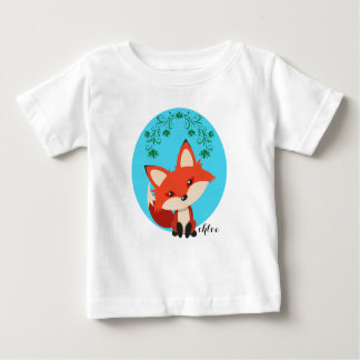 Whimsical Baby Fox And Floral Swirls Baby T-Shirt