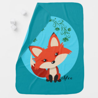 Whimsical Baby Fox And Floral Swirls Pram blanket