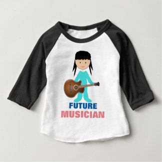 Whimsical Baby Holding Guitar on Raglan T-Shirt