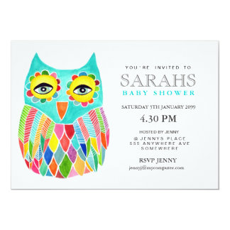 "Whimsical Baby Shower Rainbow Owl Invite 5"" X 7"" Invitation Card"