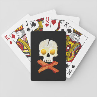 Whimsical Bacon Crossbones Eggs Skull Playing Cards