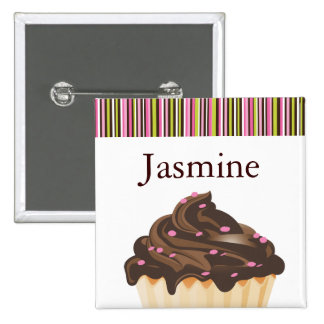 WHIMSICAL BAKERY CUPCAKE NAME TAG 15 CM SQUARE BADGE