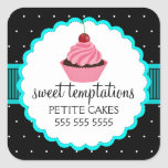 Whimsical Bakery Cupcake Turquoise Stickers
