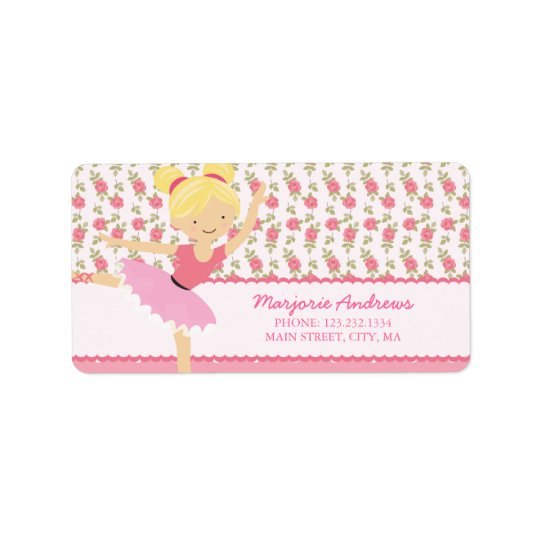 Whimsical Ballerina Floral Pink Girly Personalised Label
