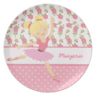 Whimsical Ballerina Floral Pink Girly Personalised Plate