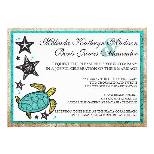 Whimsical Beach Destination Wedding Invitation