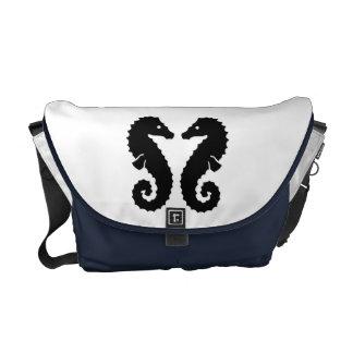 Whimsical Beach Seahorse Silhouettes Blue Custom Messenger Bags