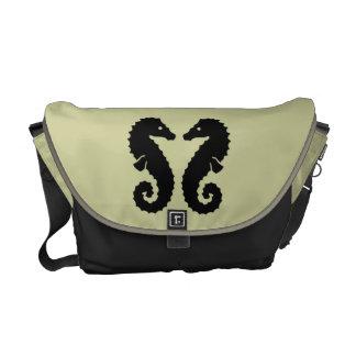 Whimsical Beach Seahorse Silhouettes Neutral Commuter Bags