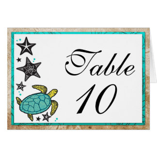 Whimsical Beach Wedding Table Number Cards