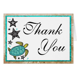 Whimsical Beach Wedding Thank You Card