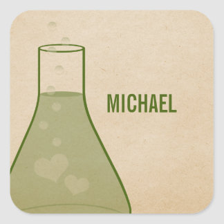 Whimsical Beaker Stickers, Green Square Sticker