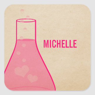 Whimsical Beaker Stickers, Pink Square Sticker