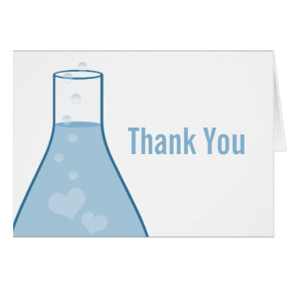 Whimsical Beaker Thank You Card, Blue Card