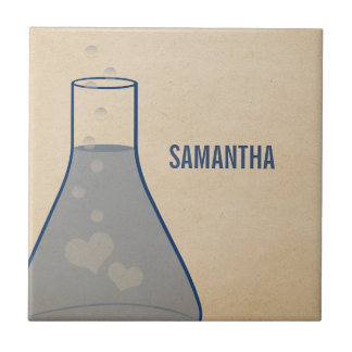 Whimsical Beaker Tile, Blue Tile