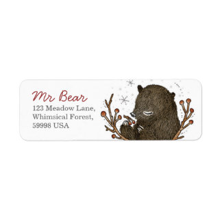 Whimsical Bear Return Address Label