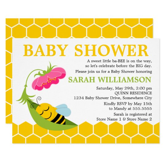 Whimsical Bee Baby Shower Card