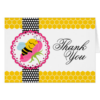 Whimsical Bee Baby Shower Pink Flower Thank You Card