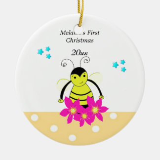 Whimsical Bee Baby39s First Christmas Ornament