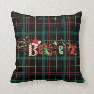 Whimsical BELIEVE and Abstract Reindeer on Plaid Cushion