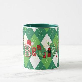 Whimsical BELIEVE, Green and White Argyle Mug