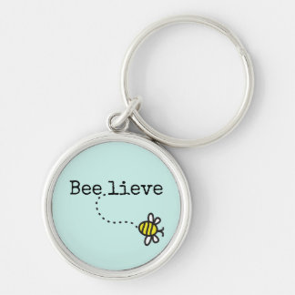 """Whimsical """"Believe"""" Quote Bumble Bee Key Ring Silver-Colored Round Key Ring"""