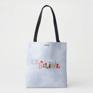 Whimsical BELIEVE, Winter Watercolor Tote Bag