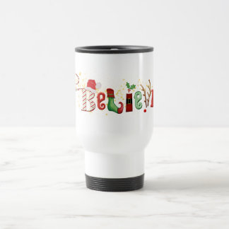 Whimsical BELIEVE with Gold Sparkles Christmas Travel Mug