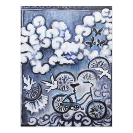 Whimsical Bicycle Painting Products Post Cards