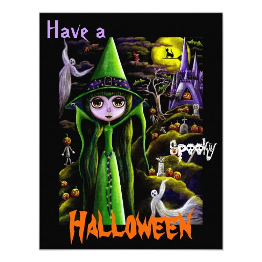 Whimsical Big Eye Halloween Witch & Pumpkin People Invites