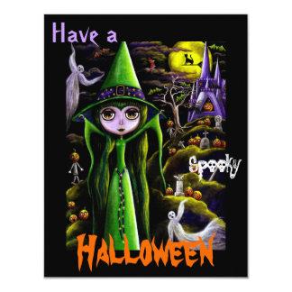 Whimsical Big Eye Halloween Witch & Pumpkin People 11 Cm X 14 Cm Invitation Card