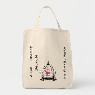Whimsical Bird Cage Reuseable Organic Shopping Bag