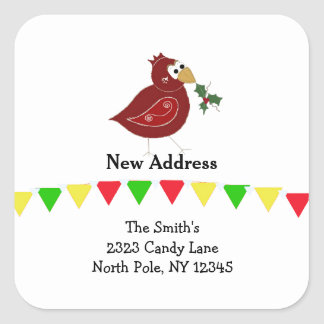 Whimsical Bird New Address Square Sticker