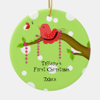 Whimsical Birdie Baby's First Christmas Round Ceramic Decoration