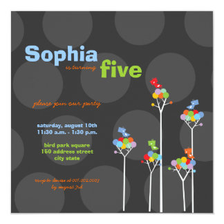 Whimsical Birds Dotted Trees Kids Birthday Party Card