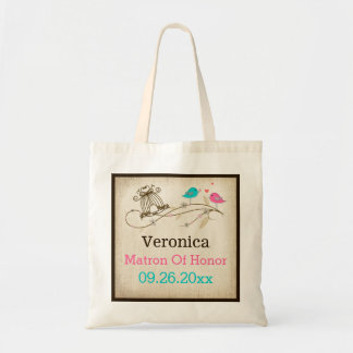 Whimsical Birds in Love Wedding Attendant Tote Budget Tote Bag