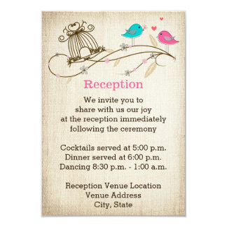 Whimsical Birds in Love Wedding Enclosure Card