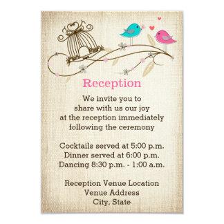 Whimsical Birds in Love Wedding Enclosure Card 9 Cm X 13 Cm Invitation Card