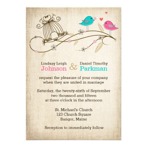 Whimsical Birds in Love Wedding Invitation