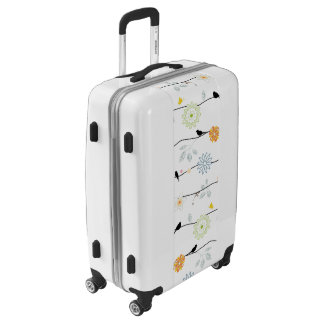 Whimsical Birds on Floral Vines Luggage