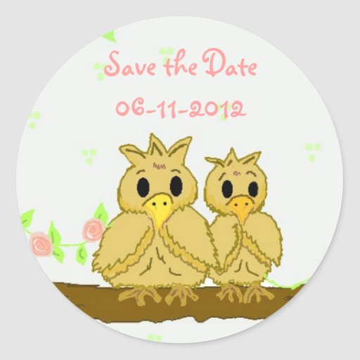 Whimsical  Birds Save the Date Round Stickers