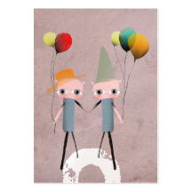 whimsical birthday colourful bird old business business card template
