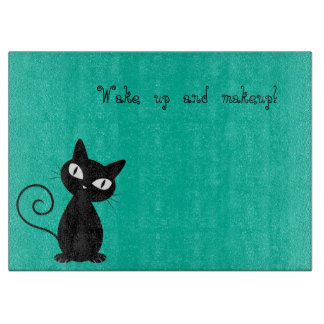 Whimsical Black Cat, Glittery-Wake up and makeup! Cutting Board
